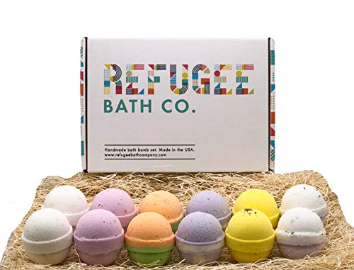 Refugee Bath Co. Variety Pack Bath Bombs | 2.5 oz. each | Organic Cocoa Butter and Plant-based ingredients | Support Refugee Employment in USA (Variety 12 Pack)