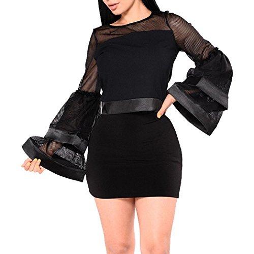 Crochet Inset Skirt (Vovotrade Womens 2PCS Outfit Long Sleeve O Neck Shirt Top Mesh Blouse +Skirts (S, Black))