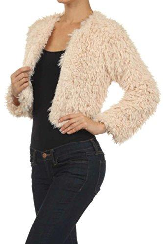Color Era Faux Fur Cropped To Waist Length Winter Jackets for Women (Medium, Khaki) Faux Fur Cropped