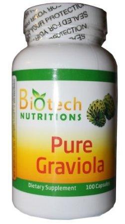 Nutritions Biotech 100% 1300mg Graviola pur par 100 Capsules Portions par bouteille