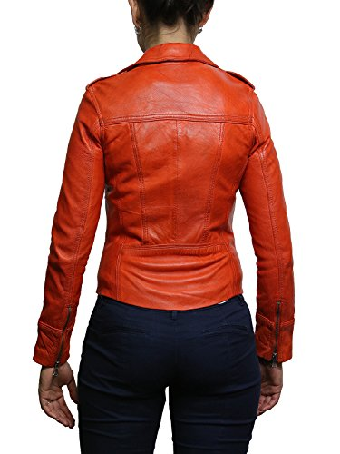 Femmes Orange Véritable Motard Veste Brandslock Classique Look Cuir Vintage Designer 5ztZwqO