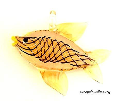 (Amber Yellow Tropical Fish Hand Blown Lampwork Glass Bead Focal Drop)