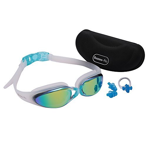312db28db0c2 Swimming Goggles Adult Adjustable Non Toxic Silicone Straps - UV Protected  Anti-Fog Rainbow Color Lens - Fog Resistant Swim Goggle With Zipper Case  Ear Plug ...