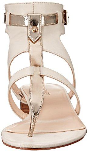 Gold sandalia cuero de Off la de vestido del White West Justnice Nine B7wqnUB6