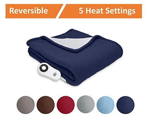 Serta | Reversible Sherpa/Fleece Heated Electric Throw Blanket, Premium, (Cobalt)