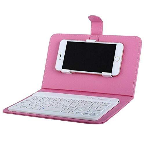 Reuvv Mini Drahtlose Bluetooth Tastatur Tragbar Tastenfeld mit Leder Schutzhülle für Smartphone Kompatibel mit Alle Ios…