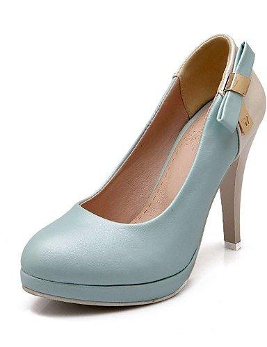 GGX/Damen Schuhe PU Sommer-/, Round Toe Heels Büro & Karriere/Casual Stiletto-Absatz Schleife Blau/Pink/Beige beige-us7.5 / eu38 / uk5.5 / cn38