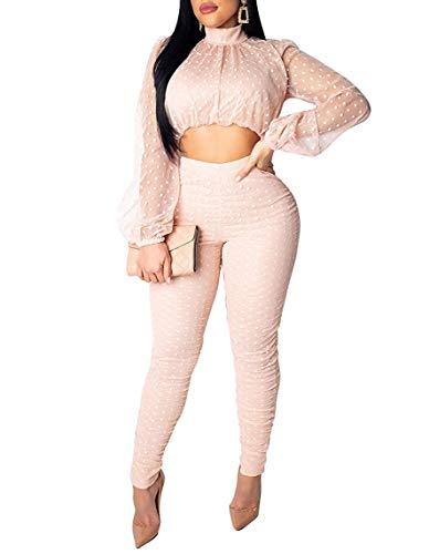 Crop Mesh Polka Dot Top - Aro Lora Women's Polka Dot Sheer Mesh Bodycon 2 Piece Outfit Long Puff Sleeve Crop Top and Pant Set Clubwear Small Pink