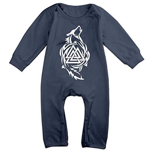 Infant Thor Pajamas - Odin Thor Viking Tribal Norse Wolf Valknut Baby Organic Pajamas Organic Bodysuits Navy
