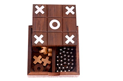 Desi Toys Tic Tac Toe Solitaire 2-in-1 Travel Board Game Vintage Wooden Handmade,  awesome table top game (Toe Tac Tic Ball)