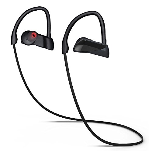Bluetooth Headphones, In Ear Stereo Wireless Earbuds with Mic, Waterproof Sports Earphones Sweatproof IPX7 for Running Gym Workout 7 Hours, 2018 Updated Version, CVC 6.0 Noise Cancelling Headsets by PYQ