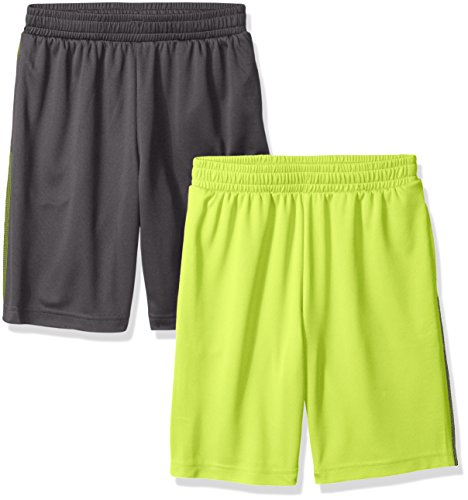 Amazon Essentials Big Boys' 2-Pack Mesh Short, Grey/Lime, Medium