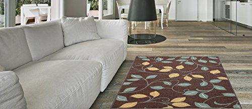 Maxy Home Hamam Floral Brown 3 ft. 3 in. x 5 ft. Rubber Backed Area Rug by Maxy Home