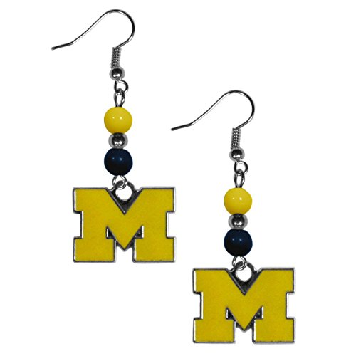 NCAA Michigan Wolverines Fan Bead Dangle Earrings (University Michigan Of Accessories)