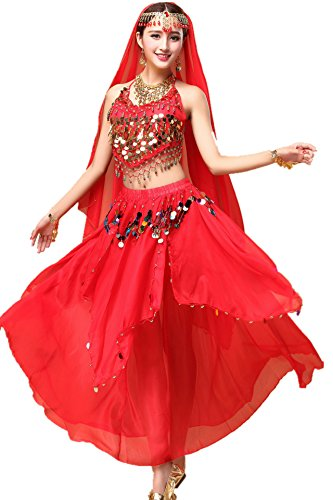 YYCRAFT Women Halloween Halter Top Skirt Costume Set Belly Dance Outfit Red (Zumba Halloween Costume)