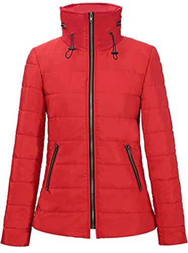 Veste Blansdi Court Manteau Packable Avec Chaud Mince Stand Rouge Femmes Zippée Capuche Col Classic Parka Hiver AxHqf7rA