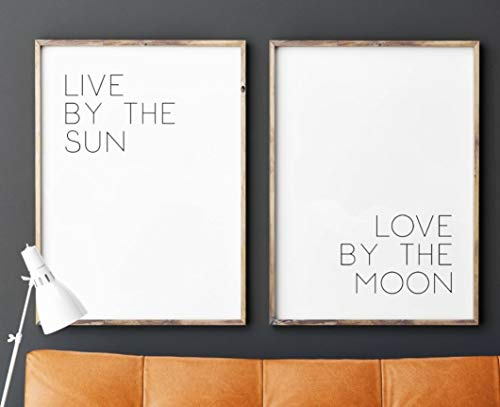 Live by the Sun, Love by the Moon, UNFRAMED 18 x 24 Poster Large Print Inch, Minimalist Art, Typography Art, Yoga Wall Art, Relaxation Gifts, Home Wall Art