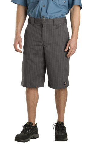 Dickies Mens 13 Inch Regular Fit Shadow Stripe Short, Graphite Grey, 32