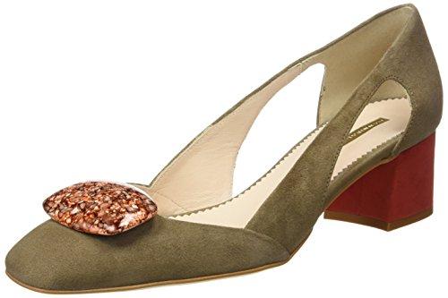 Hannibal Laguna Daniela, Zapatos de Tacón Mujer Multicolor (Ante Vison/Rojo)