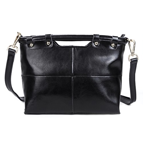 Baigio Women Stitching Cowhide Messenger Handbags Cross-body Bag Shoulder Bag Satchel Bag Black
