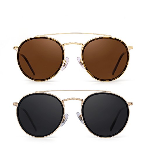 Round Polarized Sunglasses Metal Frame Flat Circle lens Glasses Men Women 2 Pack (Brown & Grey)