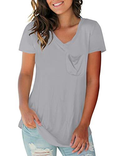 NIASHOT Women's Short Sleeve V-Neck Loose Casual Tee T-Shirt Tops