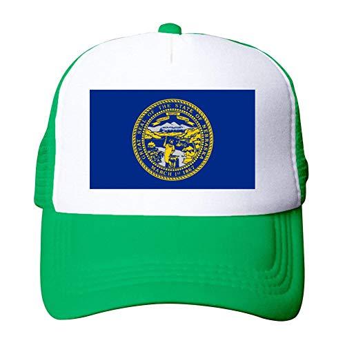 Heiazha Hipster Printed Adult Cap,Nebraska Flag Mesh Fitted Hats Snapback Cap for Men Women Green]()