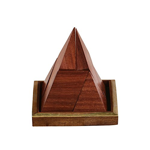 Rusticity Wooden Brain Teaser Tangram Puzzle for Kids and Adults- Pyramid 6 Pieces | Handmade | (4x4x4 in) by Rusticity