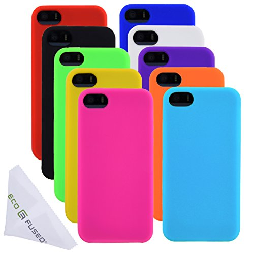 Eco-Fused Soft Silicone Rubber Cases for iPhone SE, 5 / 5S (Yellow, Pink, Hot Pink, Black, Orange, Red, Blue, Purple, White, Light Green) / 1 Microfiber Cleaning Cloth (Skin Iphone Rubber)