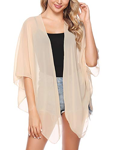 iClosam Women Lightweight Chiffon Cover Up Sheer Kimono Short Sleeve Cardigan Beach Cover Up (Nude, Medium)