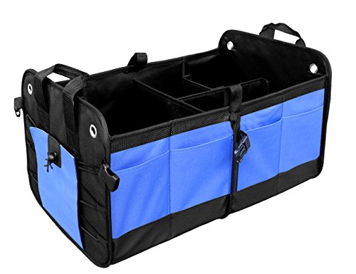 MOKOQI Auto Trunk Organizer Car Premium Trunk Storage Multipurpose 11 Pockets Removable Divider Waterproof by Blue