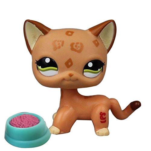 LPSOLD LPS Shorthair Cat 1120 Tan Brown Green Eyes Kitten Kitty with Accessories Action Cartoon Figure Collection Boy Girl Kid Gift (LPS 1120)