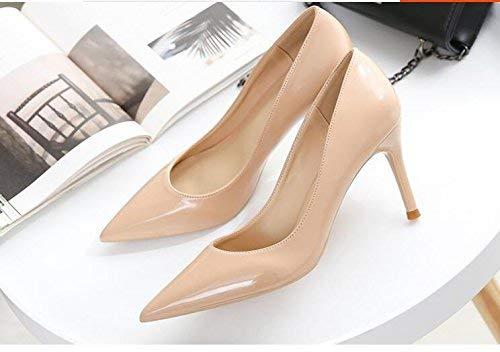 Eeayyygch Gericht Schuhe Einzelne High Schuhe weibliche frische High Einzelne Heels Frau zeigte fein mit Brautschuhe Hochzeit Schuhe weiblich (Farbe   31, Größe   Nude Farbe 6CM) 7022e7