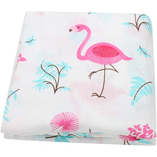 LifeTree Muslin Swaddle Blankets, Flamingo Print Swaddling for Baby Boys and Girls, 70% Bamboo & 30% Cotton Breathable Soft Muslin Blanket, Warp, Nursing Cover]()