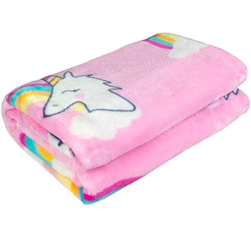 (Ghome Soft Baby Blanket and Unicorn Fuzzy Blanket,Made of 300GSM Flannel, Stroller or Toddler Bed Warm Minky Blanket 30