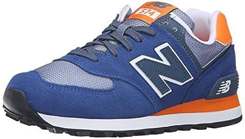 New Balance Women's WL574 Core Plus Running Shoe, Navy/Orange, 8.5 B (Balance Runner)