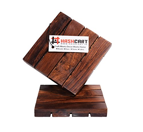 Hashcart Coasters for Drinks-Hot & Cold/Wooden Coaster Sets/Dining, Tea & Coffee Table Decorative Cocktail Coasters in Sheesham Wood | 4x4 inch | Set of 2 by Hashcart (Image #1)