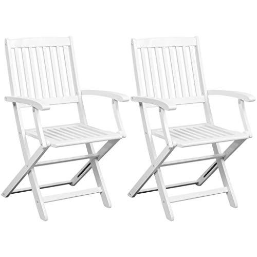 Festnight Patio Wood Dining Chairs Solid Acacia Wood White Set of 2