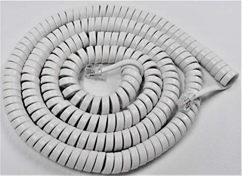 Bright White 25' Ft Handset Cord for ClearSounds Phone 40XLC CS40XLC CSC50 CSC50ER CSC500 CSC500ER CSC600 CSC600ER CSC1000 WC600 WCSC600 by DIY-BizPhones