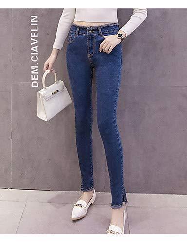 YFLTZ Pantalon Basic Jeans pour Femme - Split Color Uni Blue