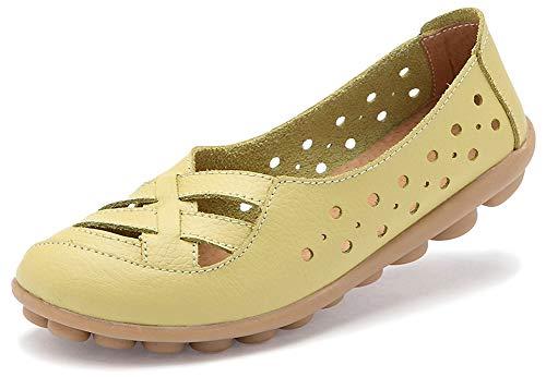 Fangsto Women's Leather Loafers Flats Sandals Slip-On US Size 9.5 Celery