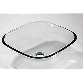 1/2 Thick Bathroom Clear Square Glass Vessel Vanity Sink With Free  Drain/ring