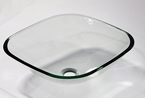 Bathroom Square Glass Vessel - 1/2 Thick Bathroom Clear Square Glass Vessel Vanity Sink with free drain/ring