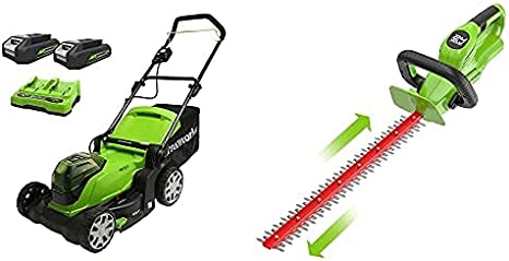 Greenworks Tools Cortacésped con batería, Li-Ion 2 x 24V 41 cm Ancho Corte + Cortasetos Inalámbrico G24HT56, Li-Ion 24V 56 cm Longitud de la Espada, 18 mm Espesor de Corte 3000 Cortes/min