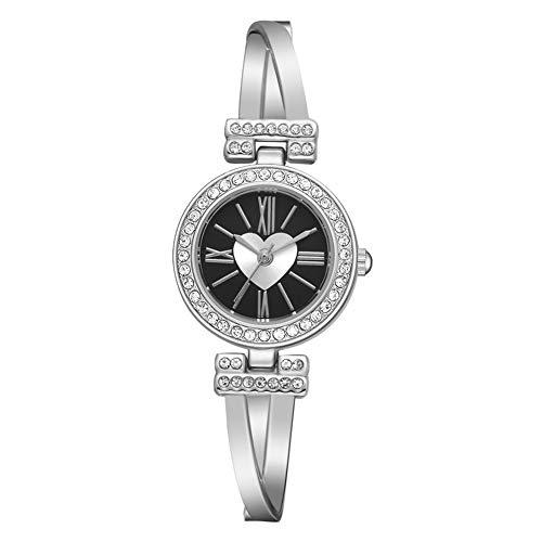 Wrist Watches Fashion Accessories, Fashion Women Love Heart Round Dial Roman Numbers Quartz Rhinestone Wrist Watch - Silver + ()