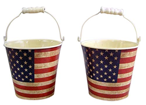 Primitive American Flag Tin Bucket Planters with Plastic Liner, 4 3/4 Inches, Pack of 2
