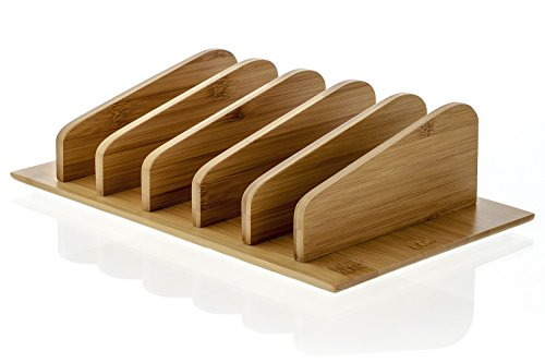 Prosumer's Choice Natural Bamboo Charging Station Rack Valet Dock Organizer for Smartphones and Tablets