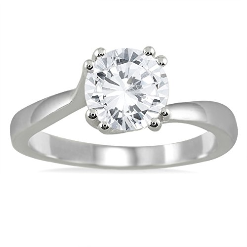 AGS Certified 1 Carat Diamond Solitaire Engagement Ring in 14K White Gold (J K Color, I2 I3 Clarity)