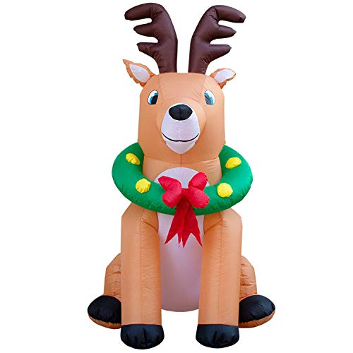 Christmas Reindeer Wreath (Holidayana 6-Foot Inflatable Christmas Reindeer with Wreath Decoration, Includes Built-in Bulb, Tie-Down Points, and Powerful Built in Fan)