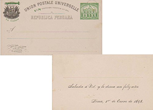 Peru Higgins and Gage 31 5c Coat of Arms at Left Overprinted with Green Horizontal 1 and Un Centavos and Post Office Buidling at Right Printed Holiday Greeting Postal Card. Unused.